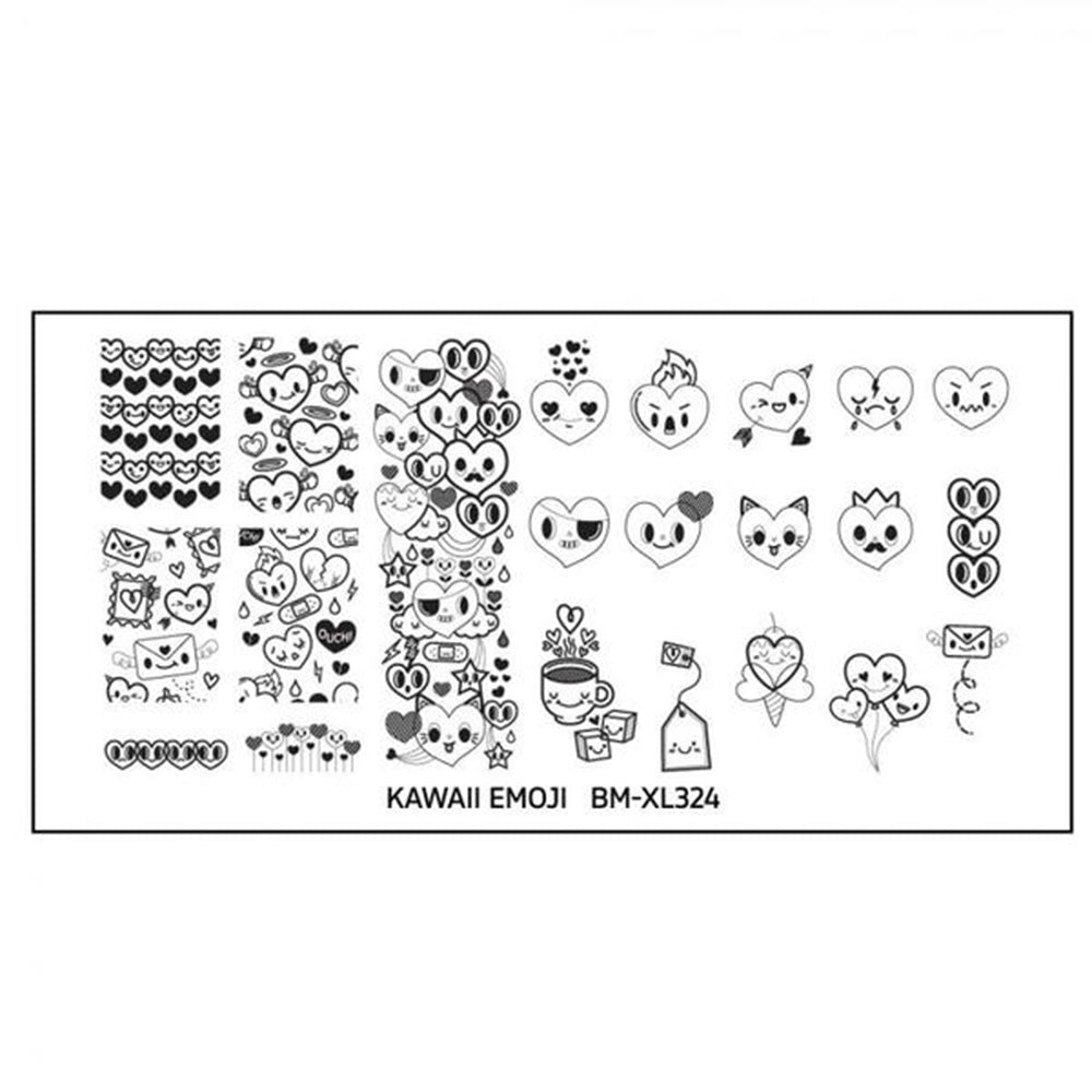 Bundle Monster Kawaii Emoji Love Overload BM-XL324 stamping plate