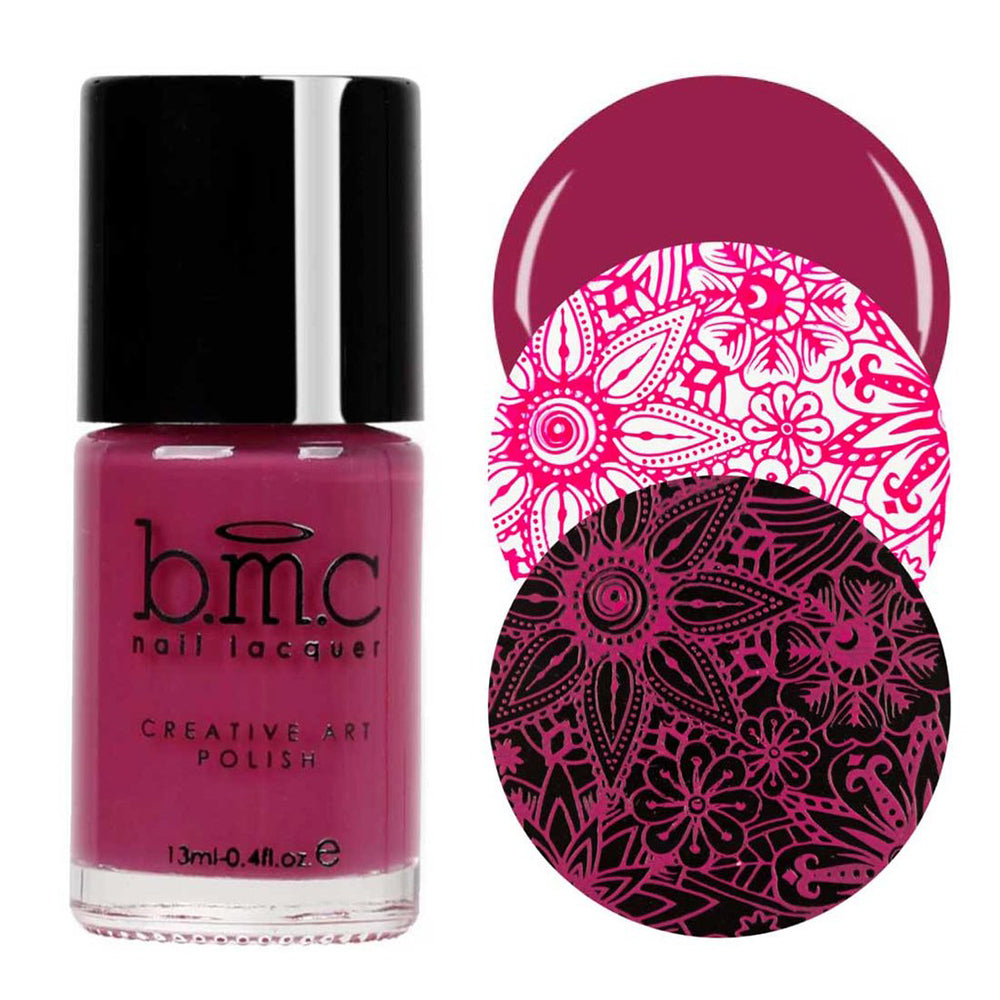 Bundle Monster Mistletoe Magic maroon stamping nail polish
