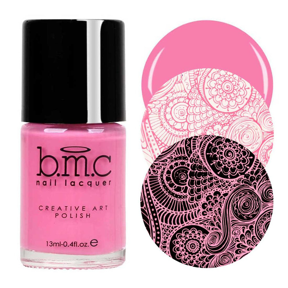 Bundle Monster Stockholm Blossom pink stamping nail polish