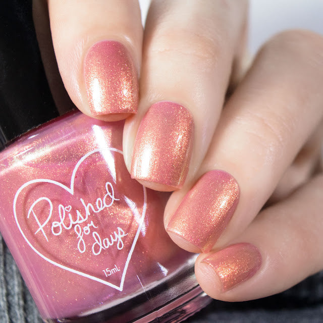Polished for Days Camellia rose pink shimmer nail polish Woodland Holiday Collection