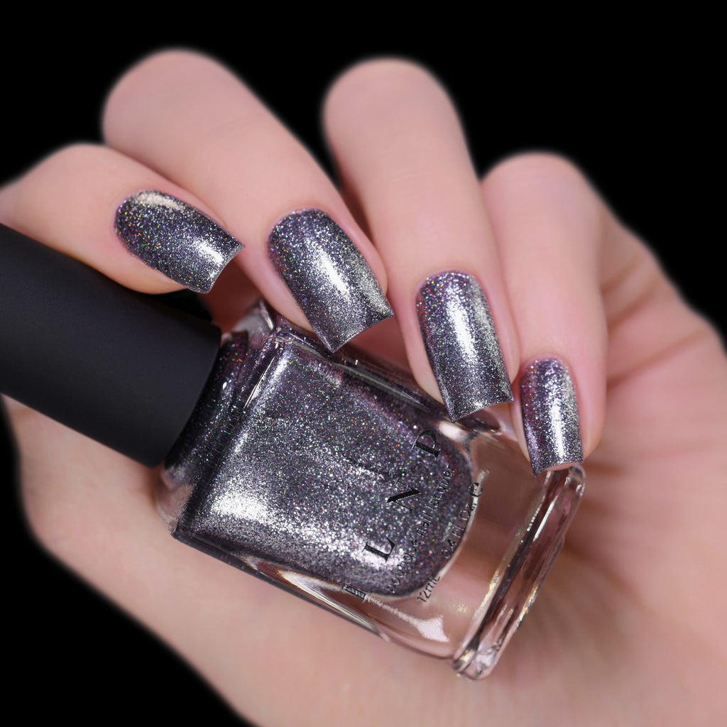 ILNP Carbon sleek gunmetal holographic ultra metallic nail polish swatch Reflections Collection
