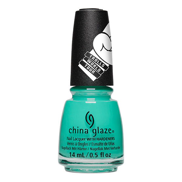 China Glaze Can't Stop Branchin' turquoise satin creme nail polish Trolls World Tour Collection
