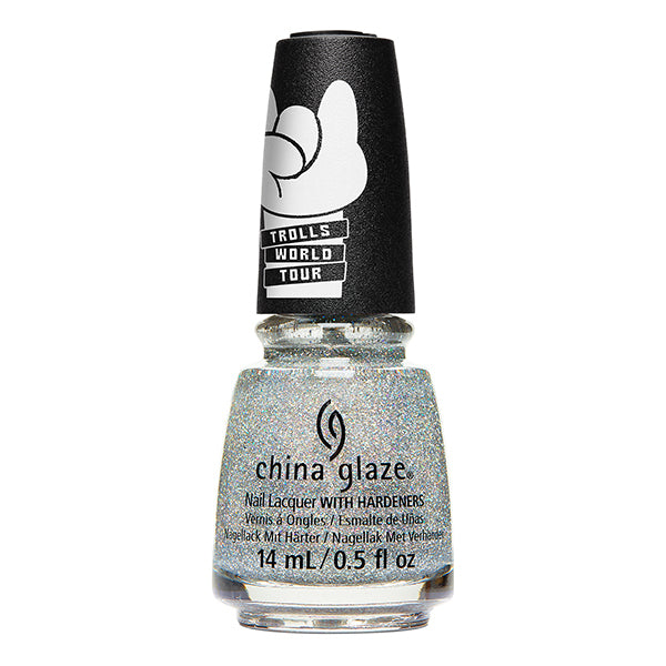 China Glaze Glitter-iffic silver holographic glitter nail polish Trolls World Tour Collection