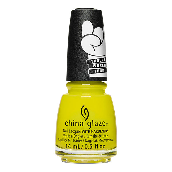 China Glaze It's All Techno chartreuse creme nail polish Trolls World Tour Collection