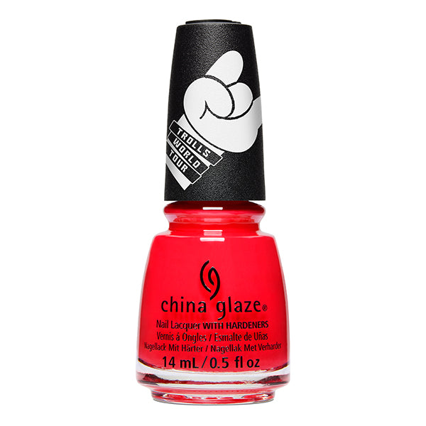 China Glaze No-Holds Barb bright orange-red jelly nail polish Trolls World Tour Collection