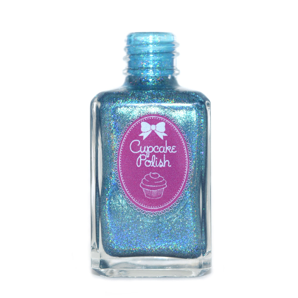 Cupcake Polish Suitor on a Scooter medium blue holographic nail polish