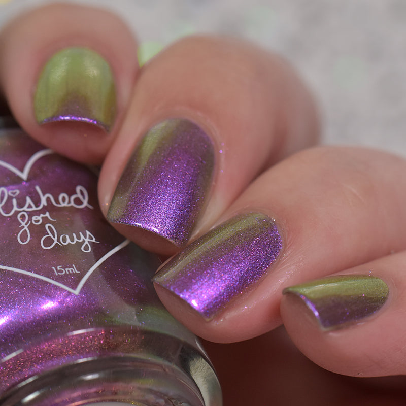 Polished for Days Orchid Glow multichrome nail polish swatch Enchanted Woods Collection