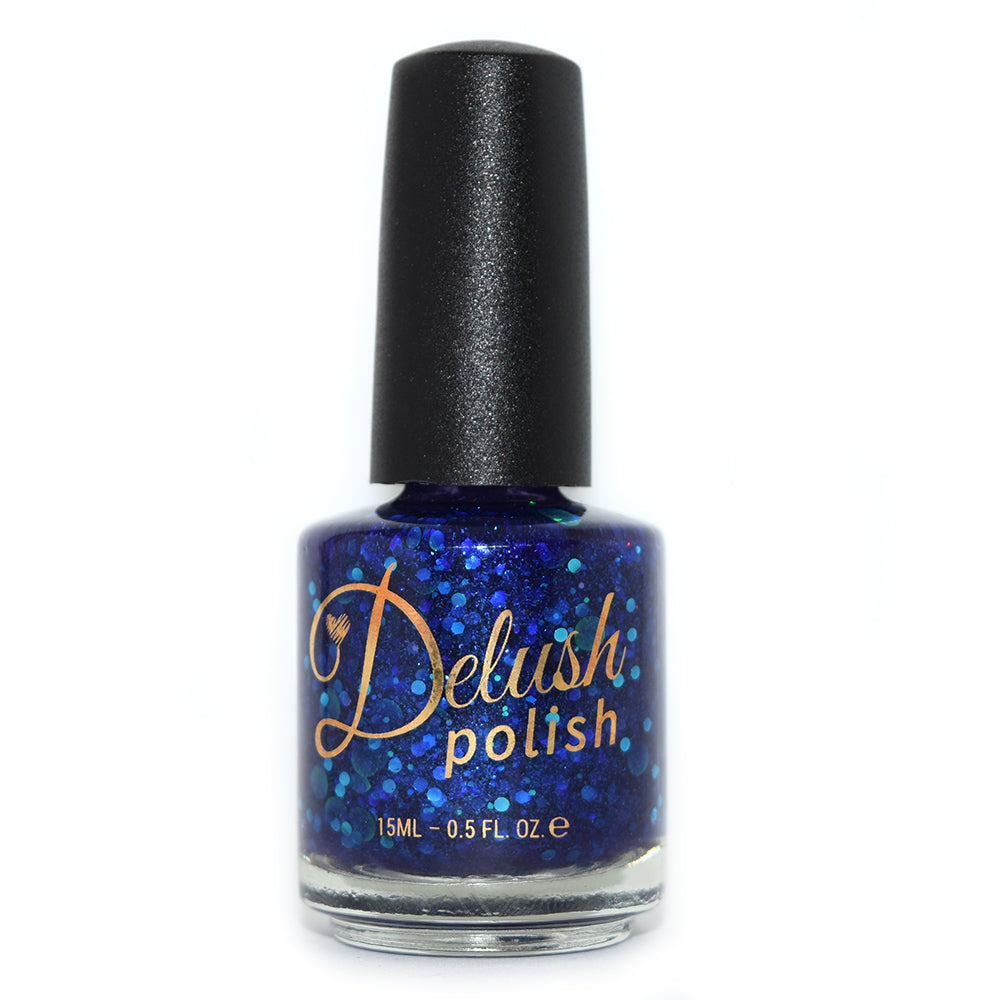 Delush Polish Trekkie With The Good Hair deep navy plum jelly glitter nail polish