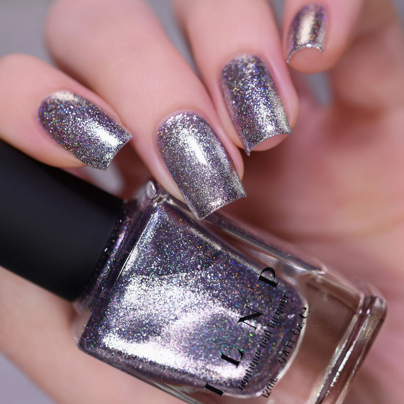ILNP Echo platinum silver holographic ultra metallic nail polish swatch Reflections Collection
