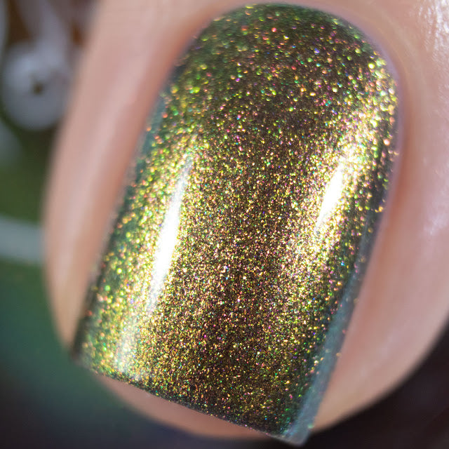 Polished for Days Elm bronze to green duochrome shimmer nail polish Woodland Holiday Collection