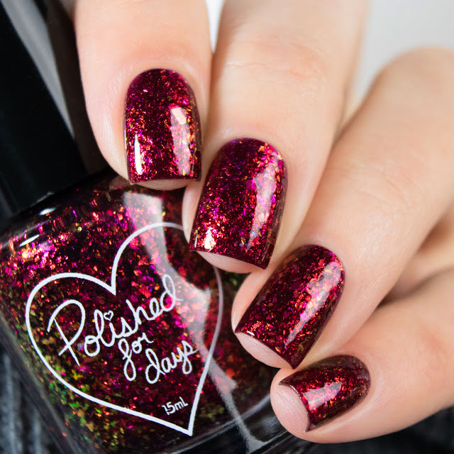 Polished for Days Fireside vampy red flakie nail polish Woodland Holiday Collection