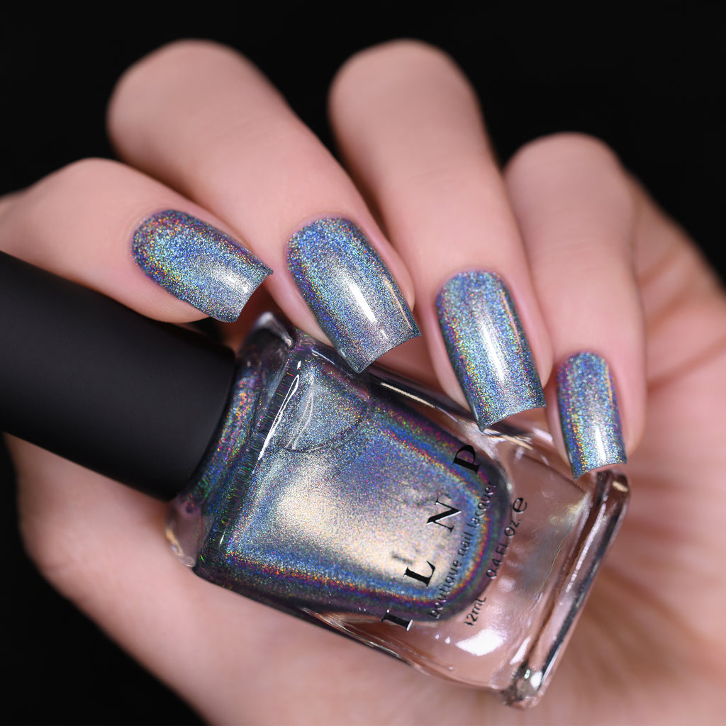 ILNP First Snow icy blue ultra holographic nail polish swatch