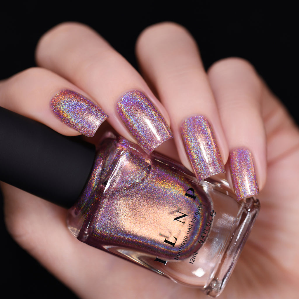 ILNP Get Cozy radiant blush pink ultra holographic nail polish swatch