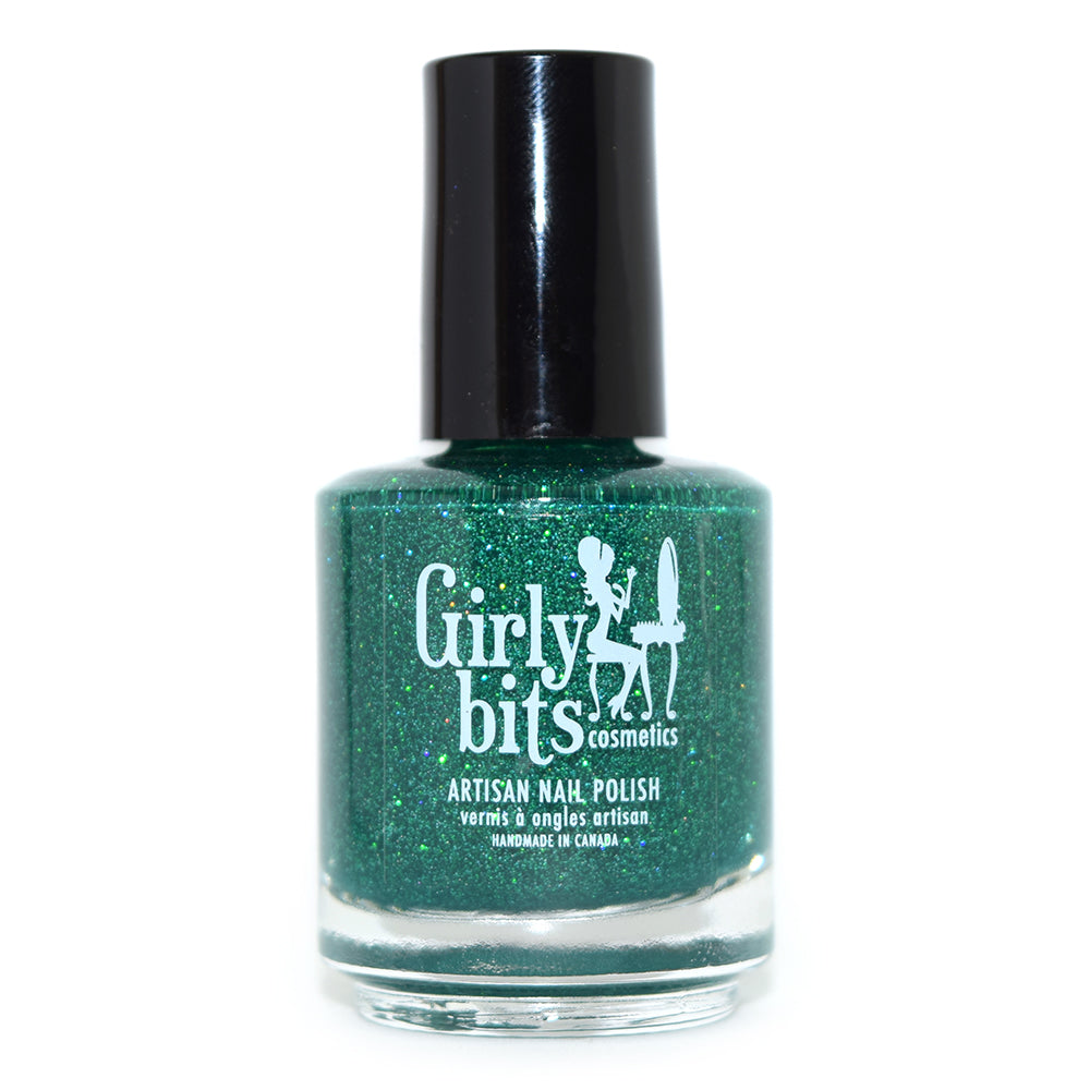 Girly Bits Jiminy Christmas green microglitter nail polish