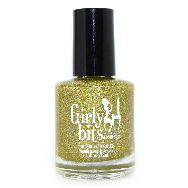 Girly Bits Jive Talkin chartreuse holographic glitter nail polish