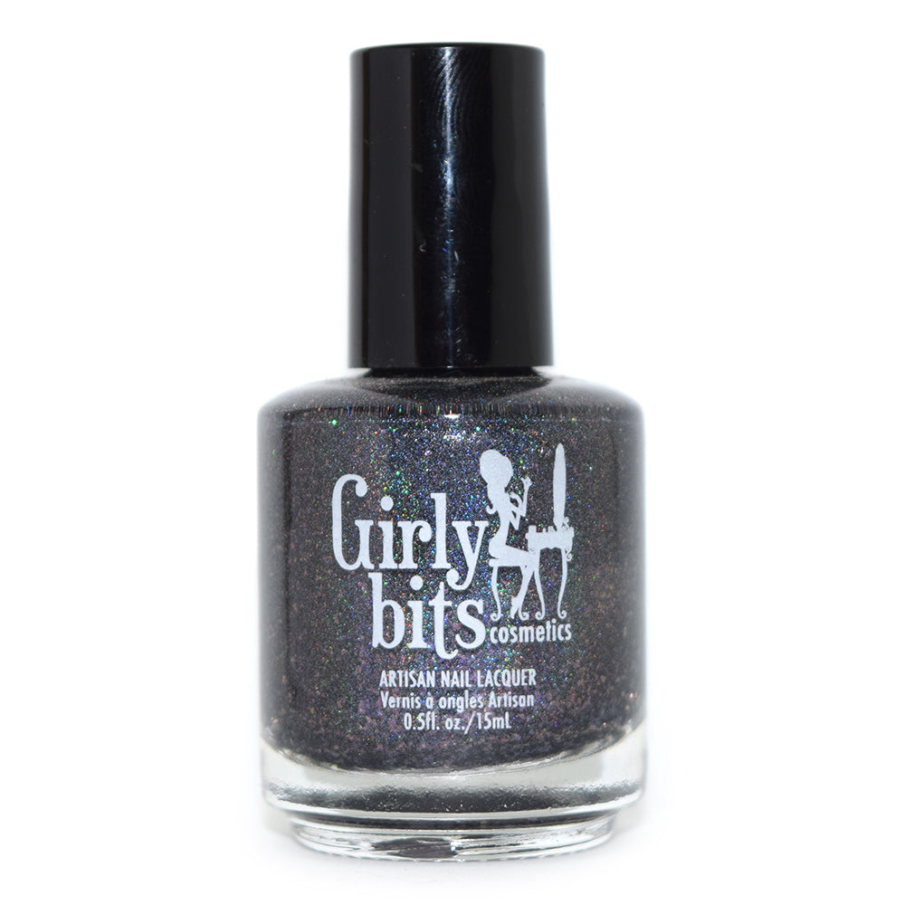 Girly Bits On Toast! charcoal holographic nail polish