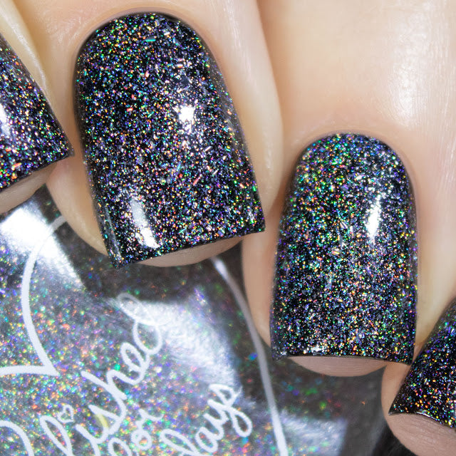 Polished for Days Halo silver holographic micro flakies nail polish topper