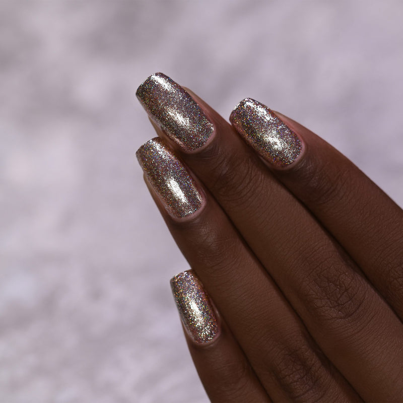 ILNP Heirloom antique brass holographic ultra metallic nail polish swatch Reflections Collection