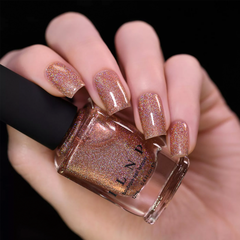 ILNP Caroline glistening rosy copper ultra holographic nail polish swatch