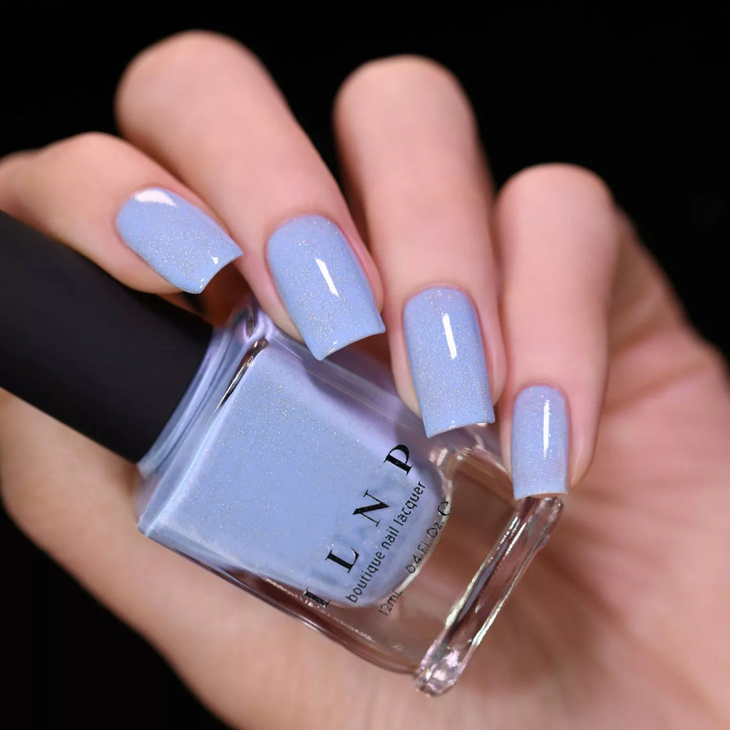 ILNP Carried Away creamy periwinkle holographic nail polish swatch