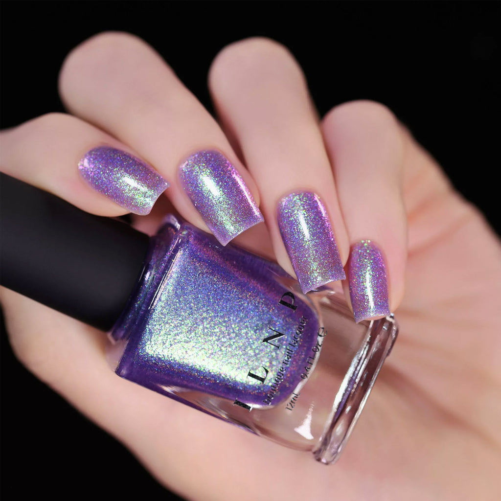 ILNP Drive-In IRIDESCENT DEEP PURPLE HOLOGRAPHIC JELLY NAIL POLISH swatch