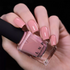 ILNP Full Bloom creamy peachy pink holographic nail polish swatch