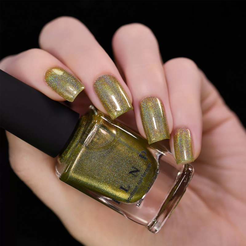 ILNP Happy Thoughts field green holographic nail polish swatch