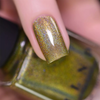 ILNP Happy Thoughts field green holographic nail polish swatch macro