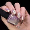ILNP In The Clouds pale lilac shimmer holographic nail polish swatch