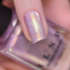 ILNP In The Clouds pale lilac shimmer holographic nail polish swatch macro