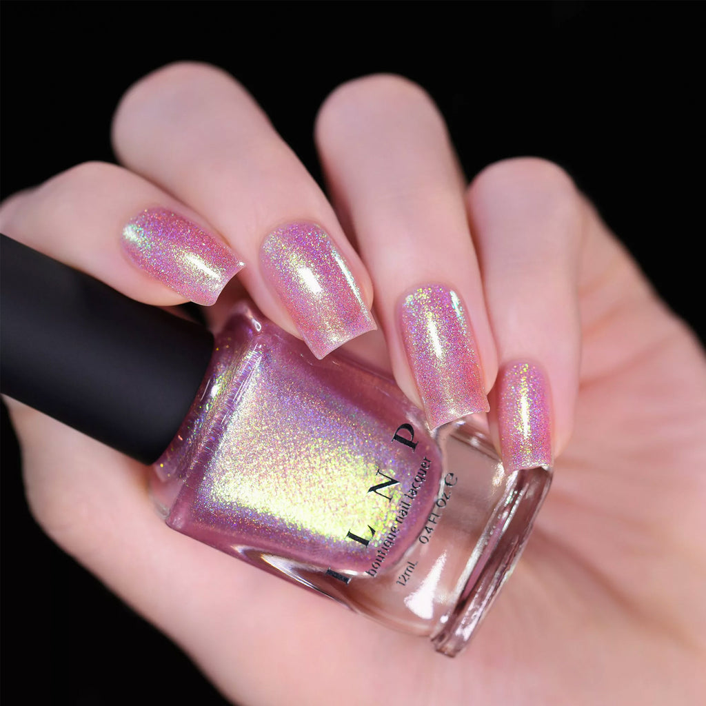 ILNP Opal Sunset OPALESCENT PINK HOLOGRAPHIC JELLY NAIL POLISH swatch