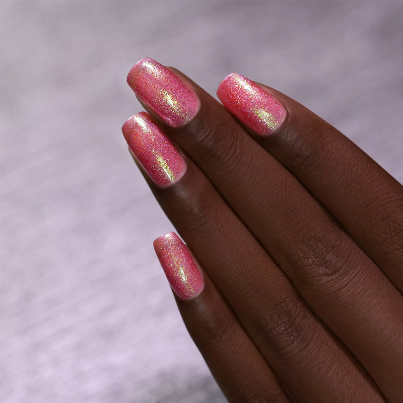 ILNP Pink Flamingo IRIDESCENT HOT PINK HOLOGRAPHIC JELLY NAIL POLISH swatch