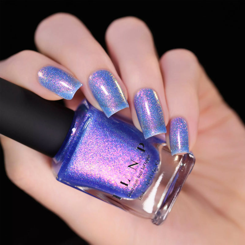 ILNP Pool Party VIVID IRIDESCENT BLUE HOLOGRAPHIC JELLY NAIL POLISH swatch