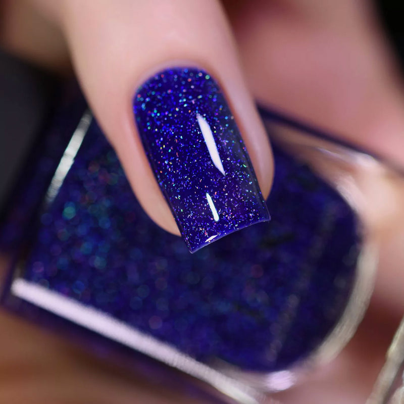 ILNP Set Sail navy blue holographic nail polish swatch At Sea Collection
