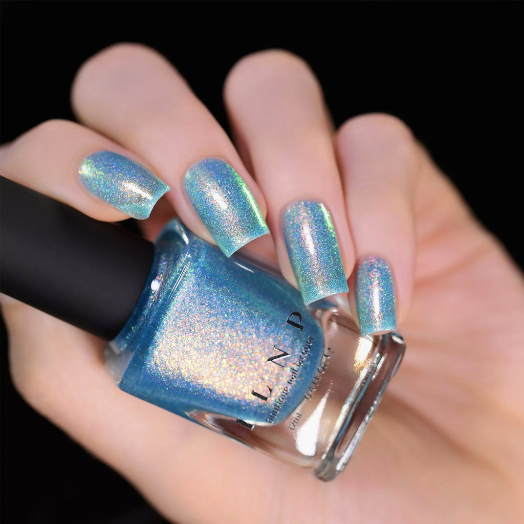 ILNP Skate Date IRIDESCENT TIMELESS TEAL HOLOGRAPHIC JELLY NAIL POLISH swatch