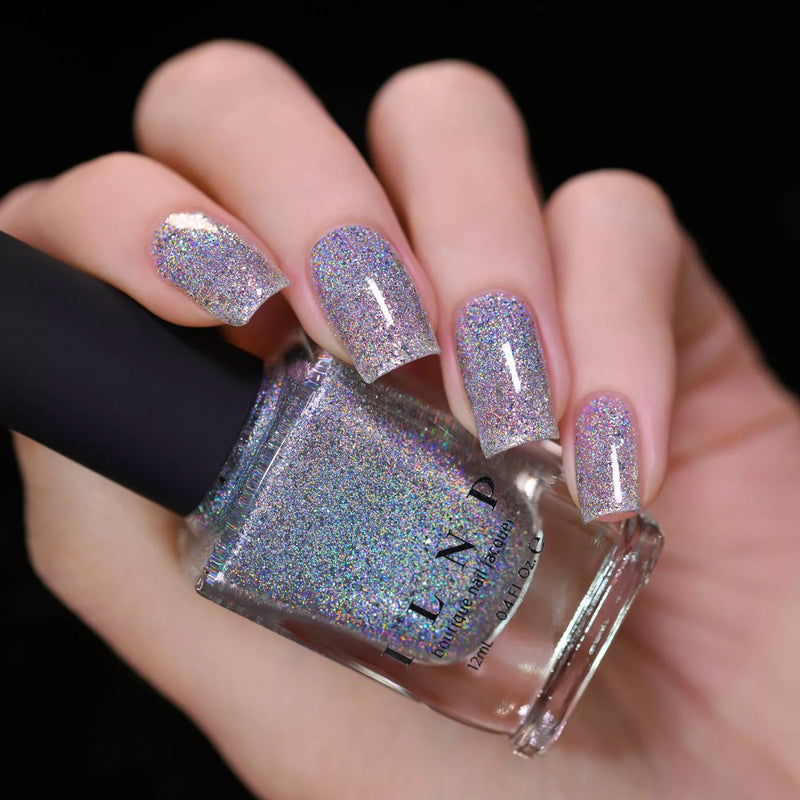 ILNP The Lighthouse intense silver ultra holographic metallic nail polish swatch At Sea Collection