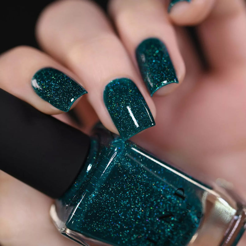 ILNP Cheers forest green holographic nail polish swatch