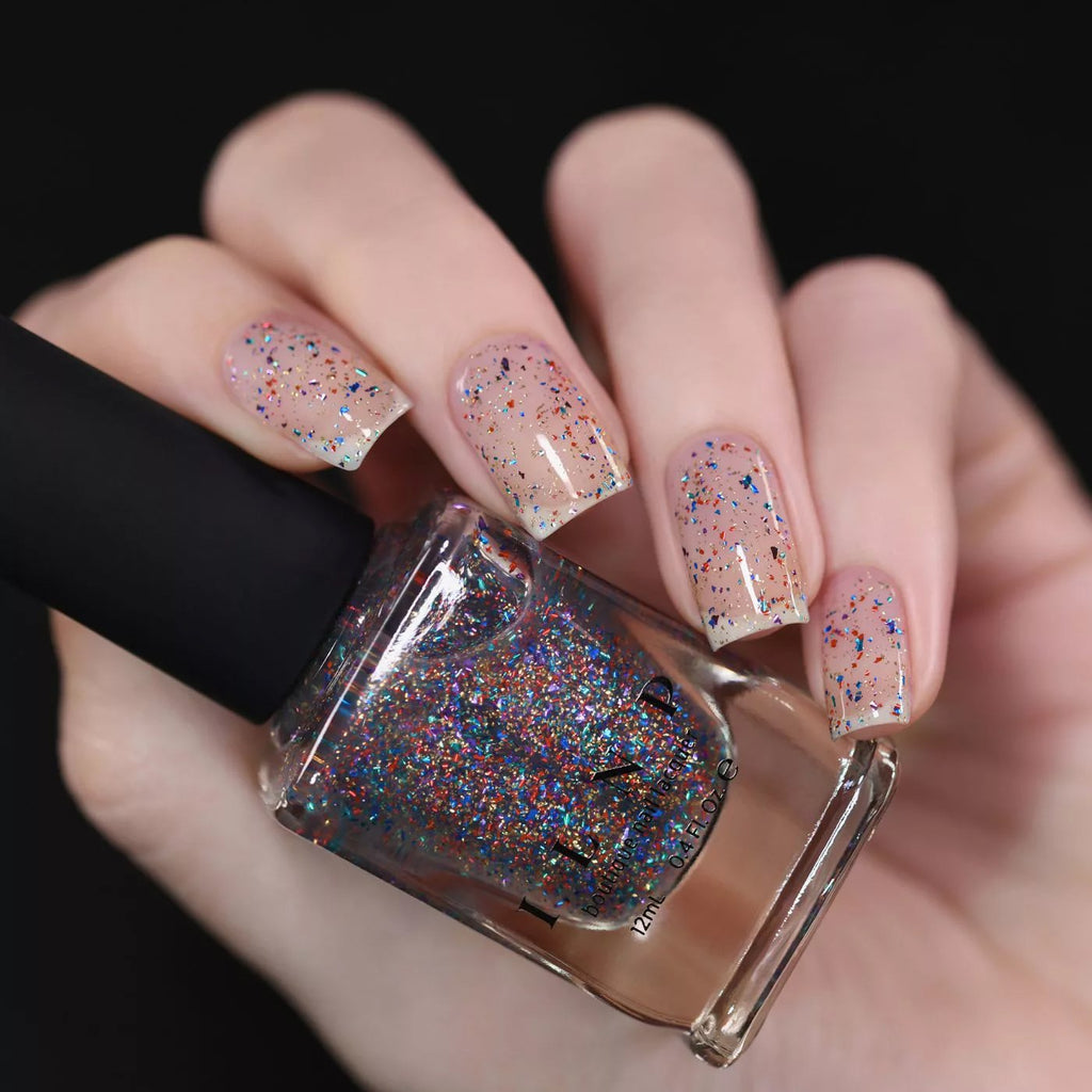 ILNP Confetti multi-coloured metallic flakie topper nail polish swatch