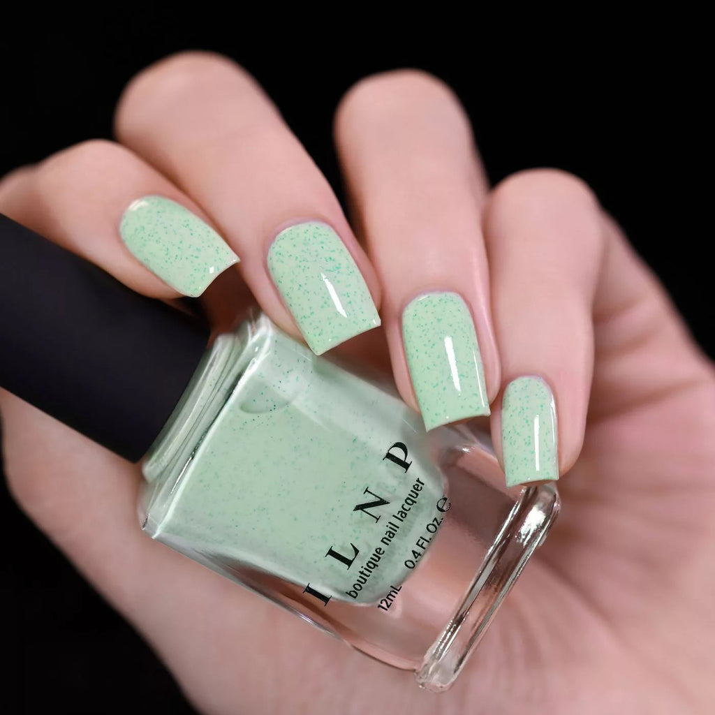 ILNP Dew Drop pastel mint speckled nail polish swatch Hatched Collection
