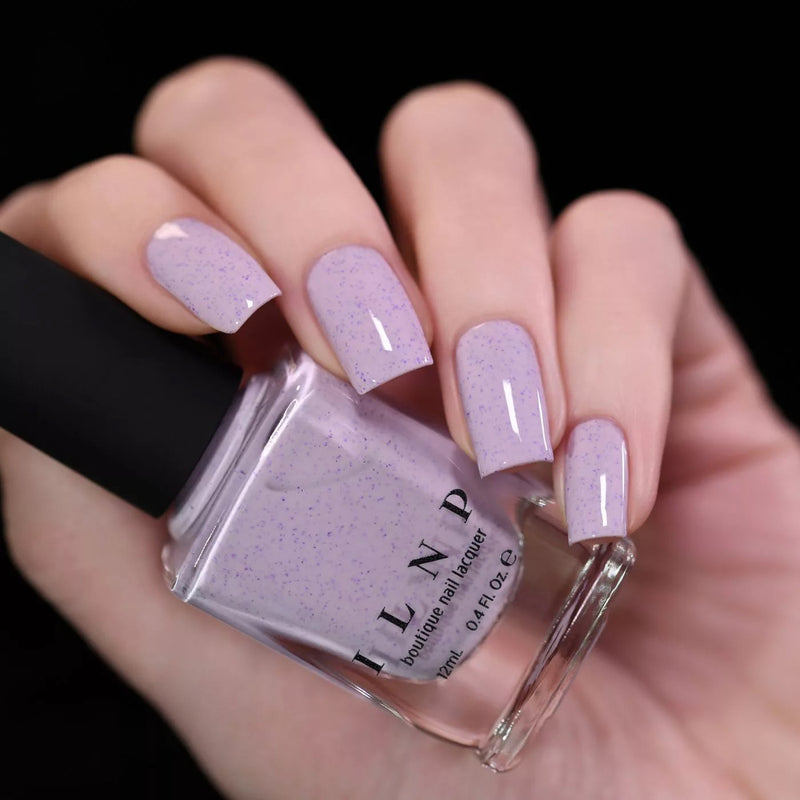 ILNP Heather pale lilac speckled nail polish swatch Hatched Collection