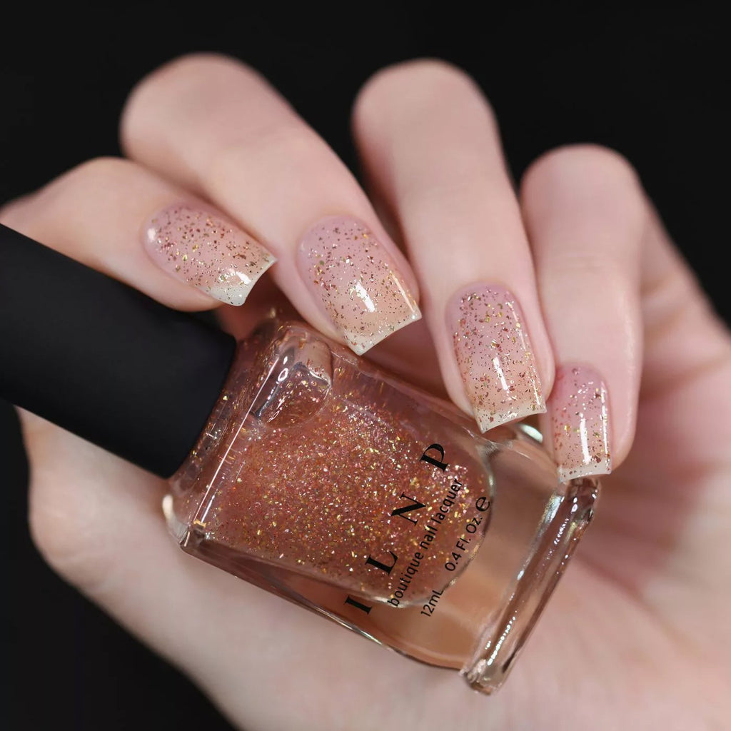 ILNP Love Triangle metallic gold, silver & rose flakie topper nail polish swatch