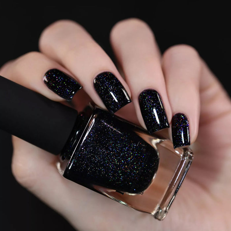 ILNP Party Bus black holographic shimmer nail polish swatch