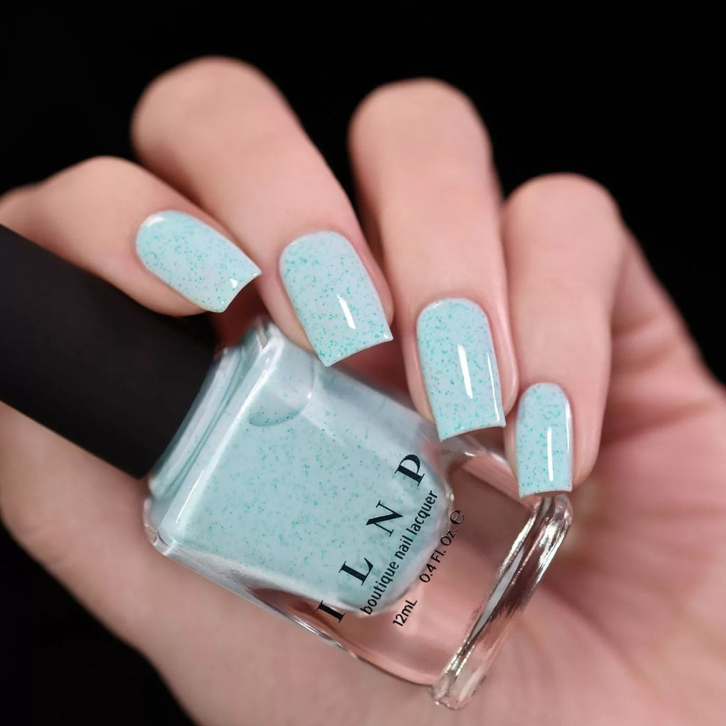 ILNP Starling pastel turquoise speckled nail polish swatch Hatched Collection