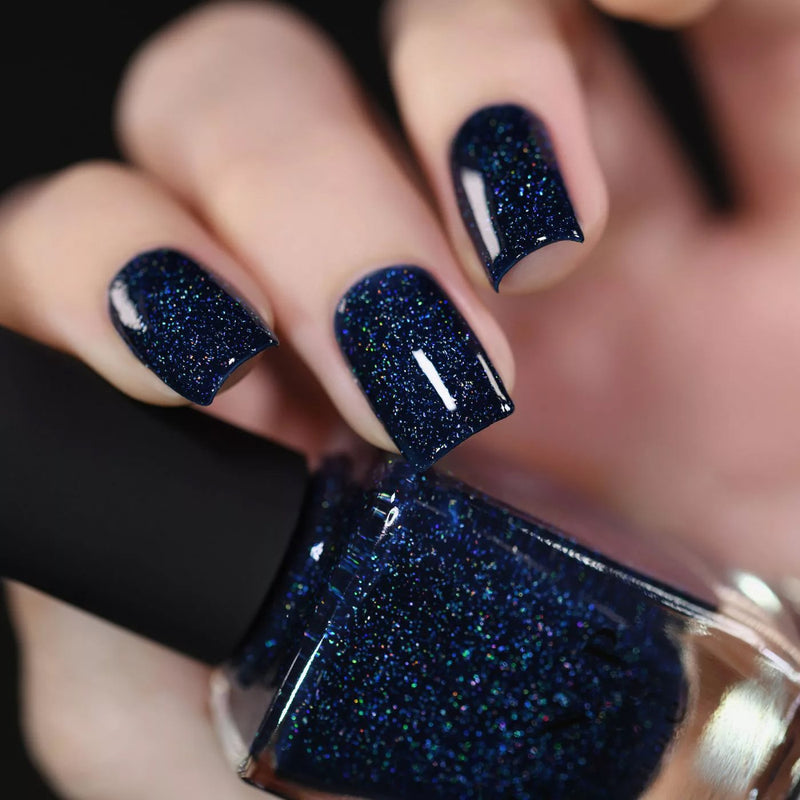 ILNP You Up? deep navy blue holographic nail polish swatch
