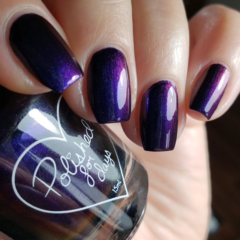 Polished for Days Reflection navy shimmer nail polish swatch Imagination Collection