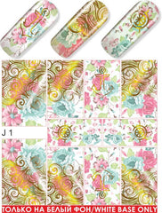Gold Foil & Pastel Floral Water Slide Decal
