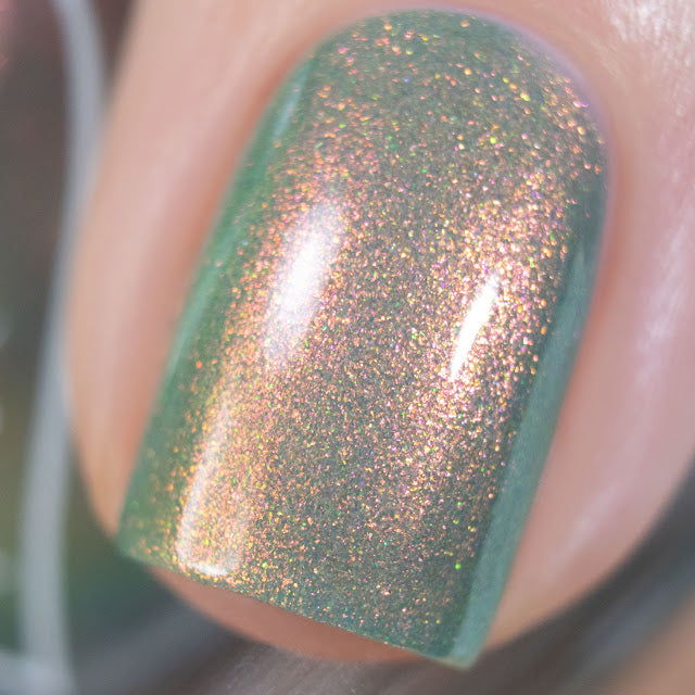 Polished for Days Juniper sage green shimmer nail polish Woodland Holiday Collection
