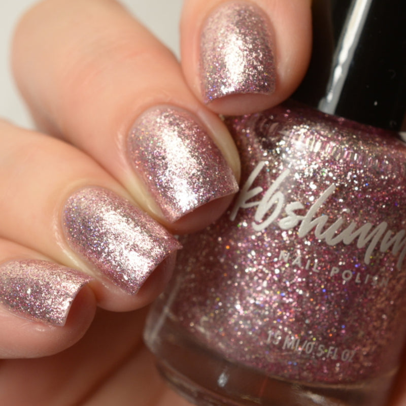 KBShimmer Isle Drink To That pink metallic flake nail polish swatch Beach Break Collection