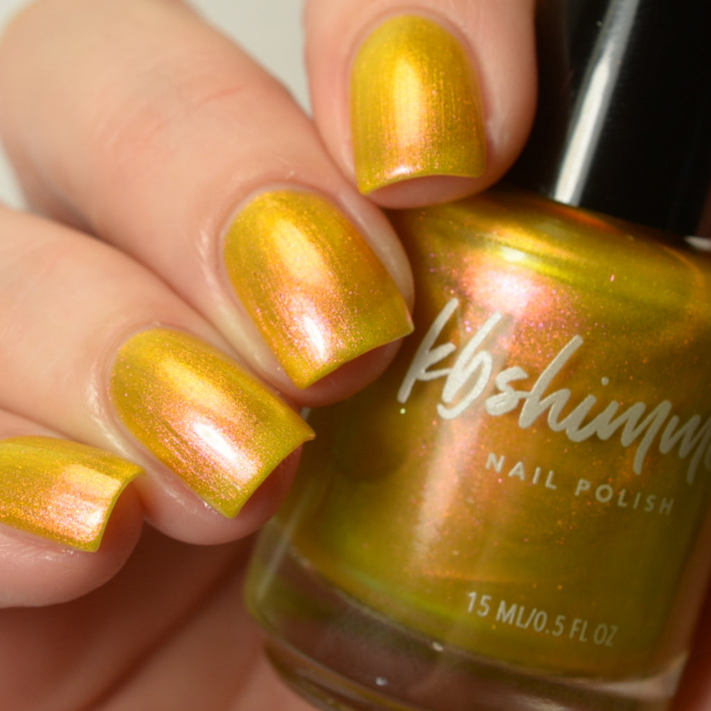KBShimmer Sun Kissed yellow gold to pink multichrome nail polish swatch Beach Break Collection