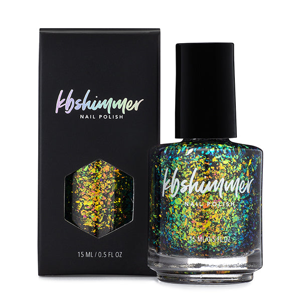 KBShimmer Party Like A Guac Star multichrome flakie top coat nail polish Seas the Day Collection